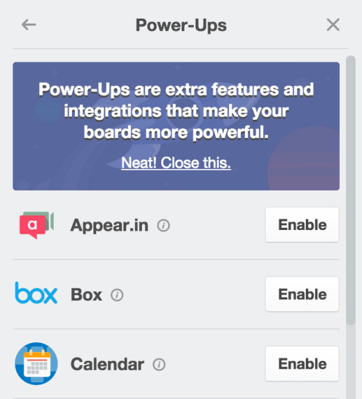trello power-ups menu
