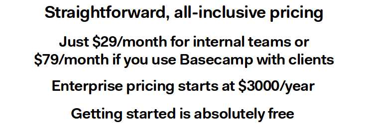 basecamp 3 pricing